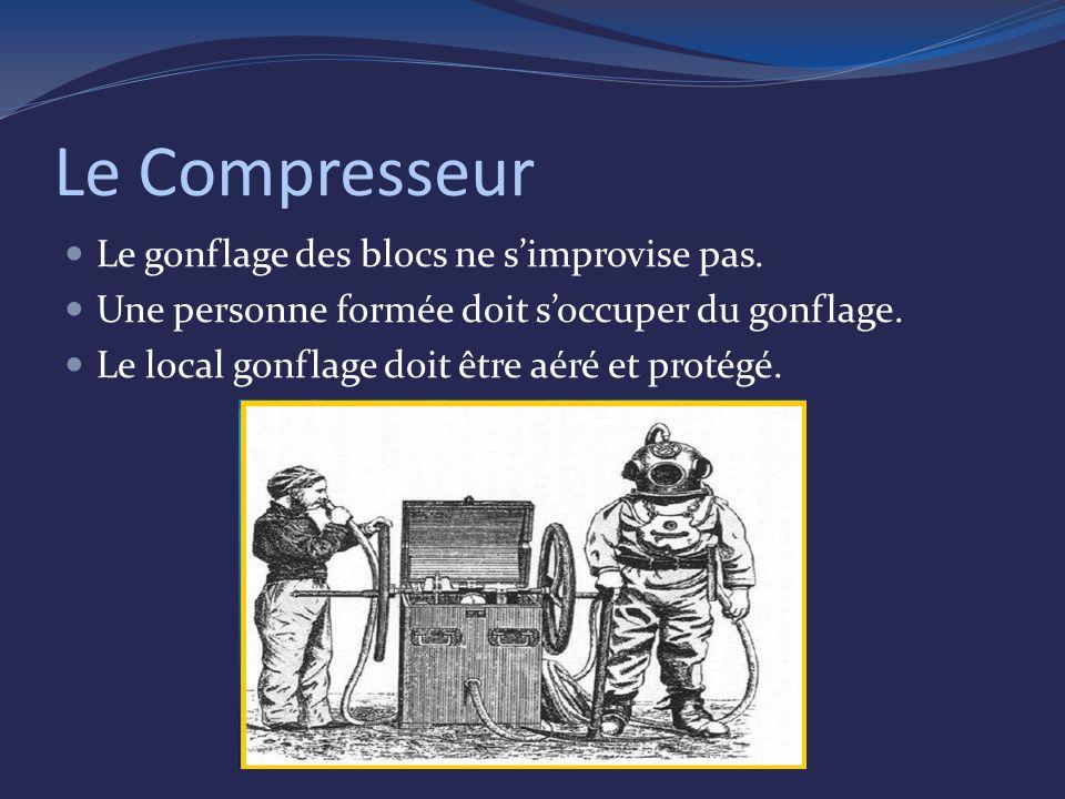 Le Compresseur Le gonflage des blocs ne simprovise pas.
