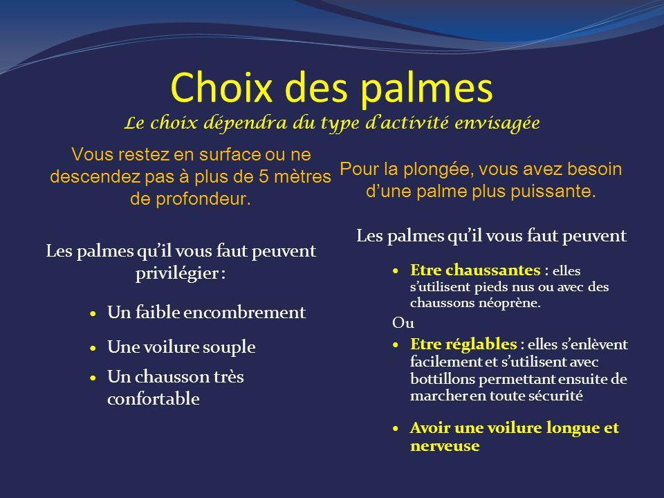 Choix des palmes Le choix dépendra du type dactivité envisagée Vous restez en surface ou ne descendez pas à plus de 5 mètres de profondeur.