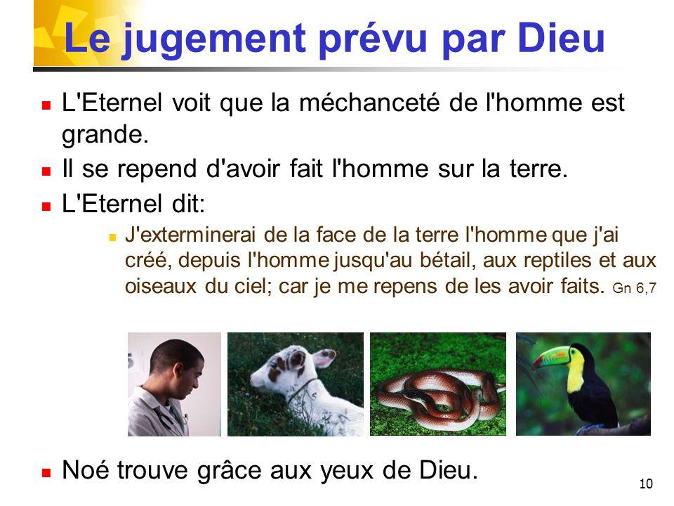 10 Le jugement prévu par Dieu L'Eternel voit que la méchanceté de l'homme est grande. Il se repend d'avoir fait l'homme sur la terre. L'Eternel dit: J