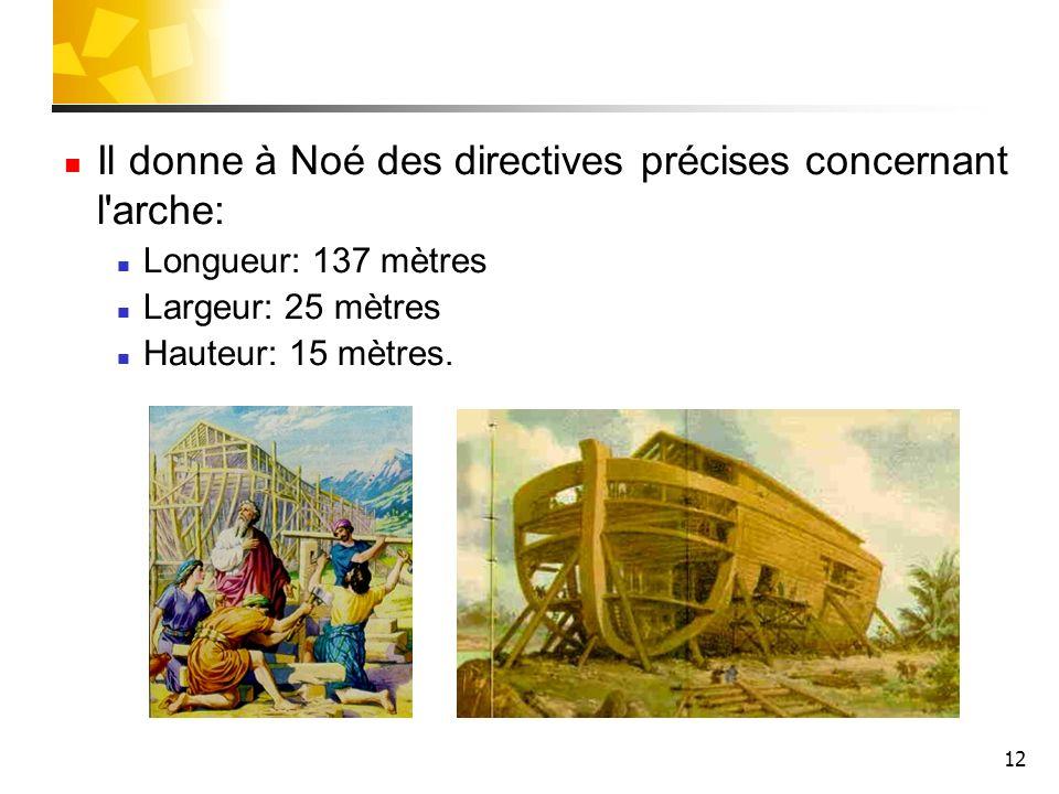 12 Il donne à Noé des directives précises concernant l'arche: Longueur: 137 mètres Largeur: 25 mètres Hauteur: 15 mètres.