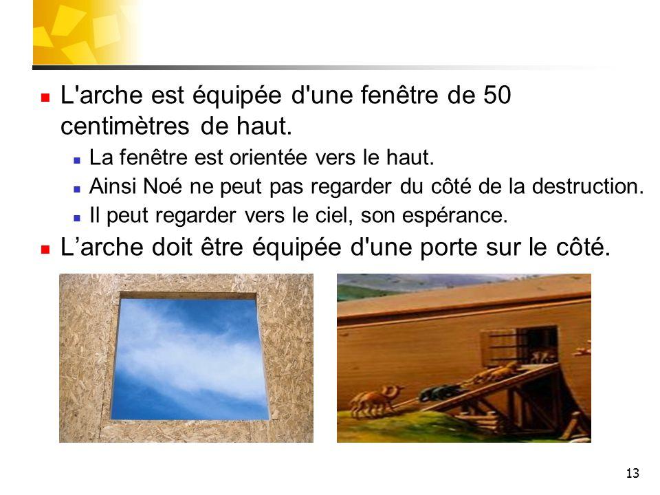 13 L'arche est équipée d'une fenêtre de 50 centimètres de haut. La fenêtre est orientée vers le haut. Ainsi Noé ne peut pas regarder du côté de la des