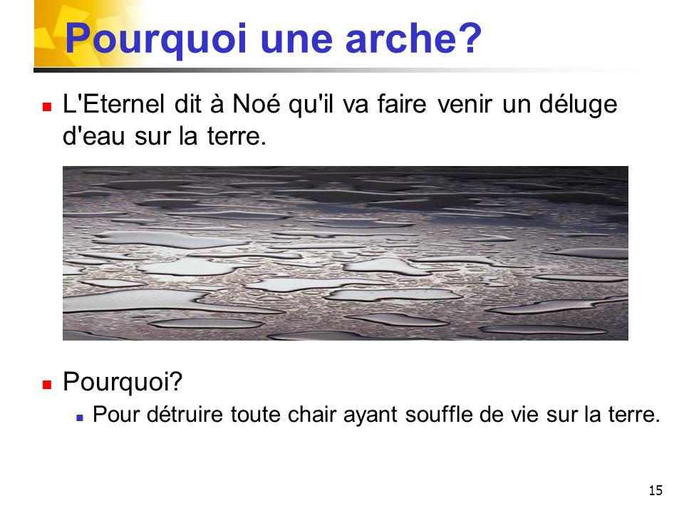 15 Pourquoi une arche? L'Eternel dit à Noé qu'il va faire venir un déluge d'eau sur la terre. Pourquoi? Pour détruire toute chair ayant souffle de vie