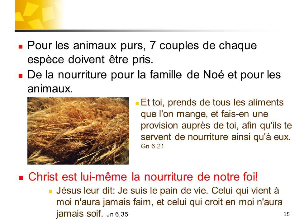 18 Pour les animaux purs, 7 couples de chaque espèce doivent être pris. De la nourriture pour la famille de Noé et pour les animaux. Et toi, prends de