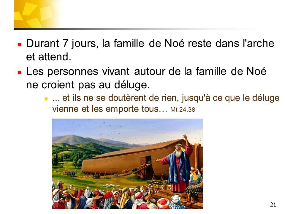 21 Durant 7 jours, la famille de Noé reste dans l'arche et attend. Les personnes vivant autour de la famille de Noé ne croient pas au déluge.... et il