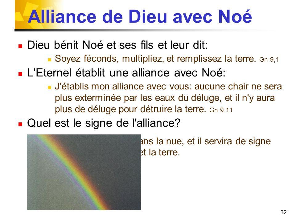 32 Alliance de Dieu avec Noé Dieu bénit Noé et ses fils et leur dit: Soyez féconds, multipliez, et remplissez la terre. Gn 9,1 L'Eternel établit une a