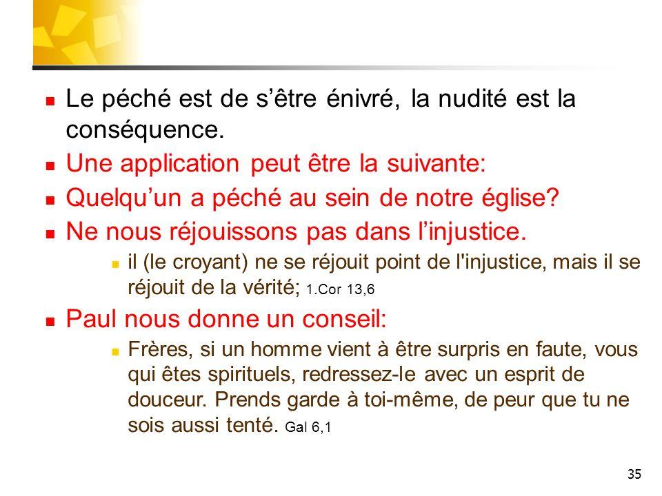 35 Le péché est de sêtre énivré, la nudité est la conséquence. Une application peut être la suivante: Quelquun a péché au sein de notre église? Ne nou