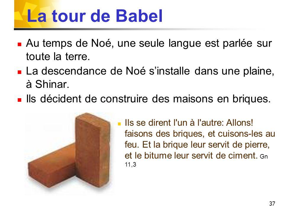 37 La tour de Babel Au temps de Noé, une seule langue est parlée sur toute la terre. La descendance de Noé sinstalle dans une plaine, à Shinar. Ils dé