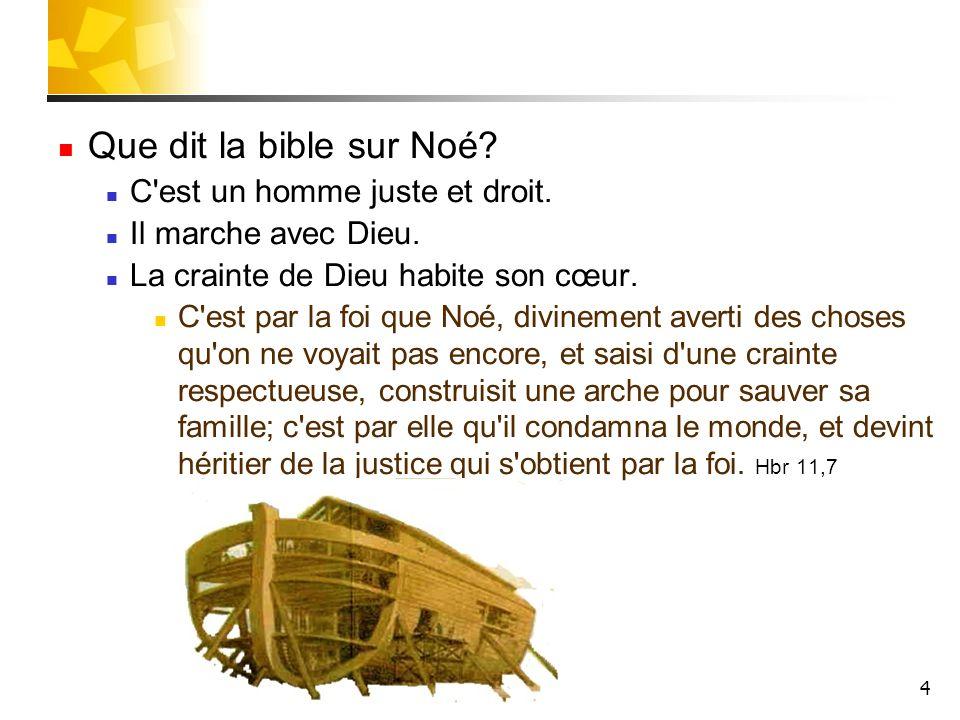 4 Que dit la bible sur Noé? C'est un homme juste et droit. Il marche avec Dieu. La crainte de Dieu habite son cœur. C'est par la foi que Noé, divineme