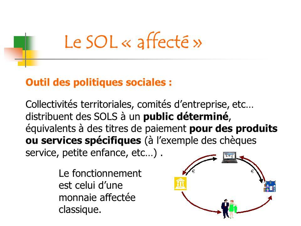 Outil des politiques sociales : Collectivités territoriales, comités dentreprise, etc… distribuent des SOLS à un public déterminé, équivalents à des t