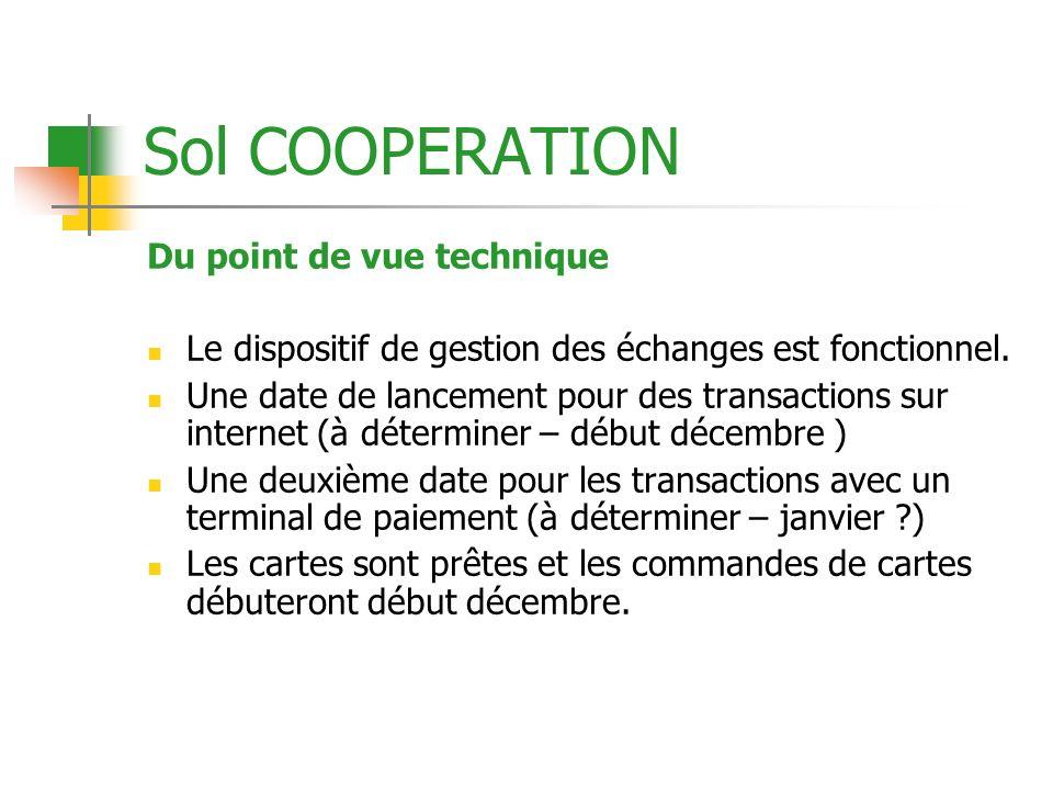 Sol COOPERATION Du point de vue technique Le dispositif de gestion des échanges est fonctionnel. Une date de lancement pour des transactions sur inter