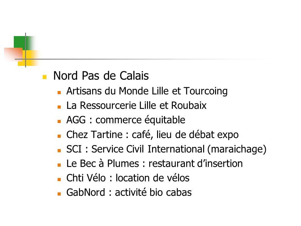 Nord Pas de Calais Artisans du Monde Lille et Tourcoing La Ressourcerie Lille et Roubaix AGG : commerce équitable Chez Tartine : café, lieu de débat e