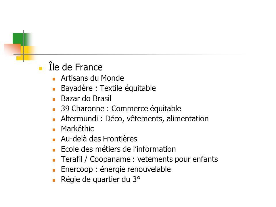Île de France Artisans du Monde Bayadère : Textile équitable Bazar do Brasil 39 Charonne : Commerce équitable Altermundi : Déco, vêtements, alimentati