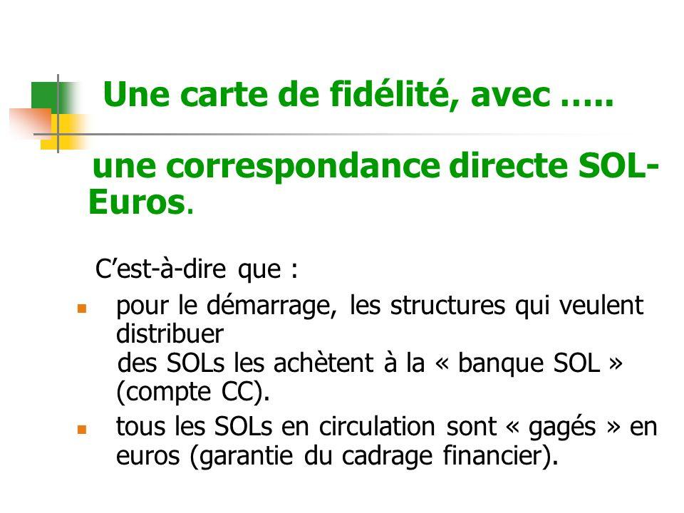 Une carte de fidélité, avec ….. une correspondance directe SOL- Euros. Cest-à-dire que : pour le démarrage, les structures qui veulent distribuer des