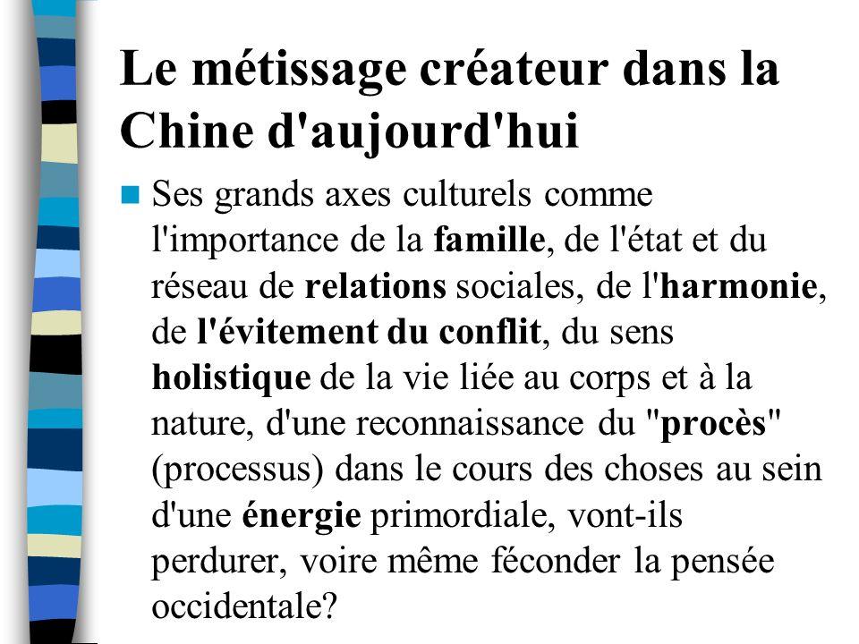Le métissage créateur dans la Chine d'aujourd'hui Ses grands axes culturels comme l'importance de la famille, de l'état et du réseau de relations soci