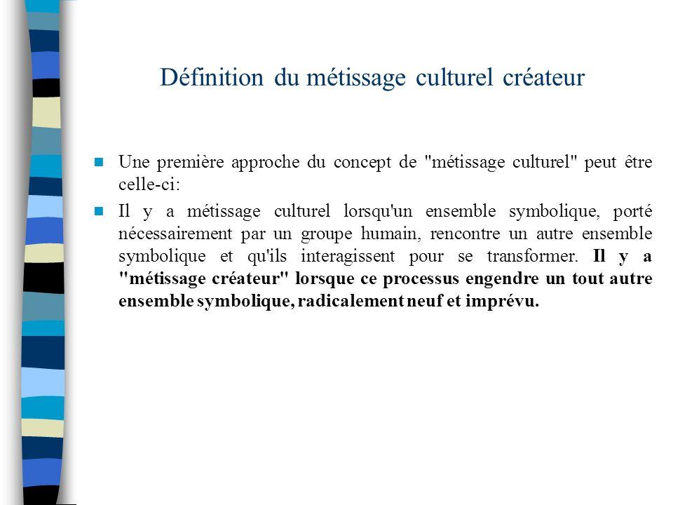 Définition du métissage culturel créateur Une première approche du concept de