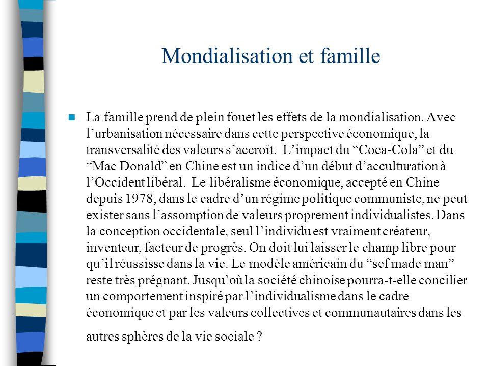 Mondialisation et famille La famille prend de plein fouet les effets de la mondialisation. Avec lurbanisation nécessaire dans cette perspective économ