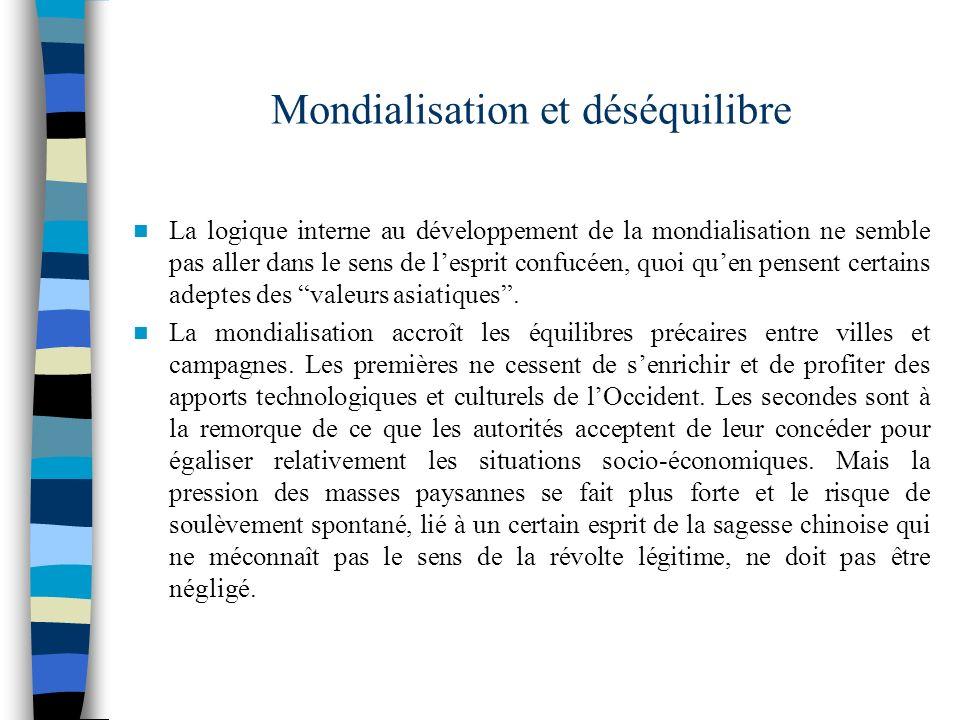 Mondialisation et déséquilibre La logique interne au développement de la mondialisation ne semble pas aller dans le sens de lesprit confucéen, quoi qu