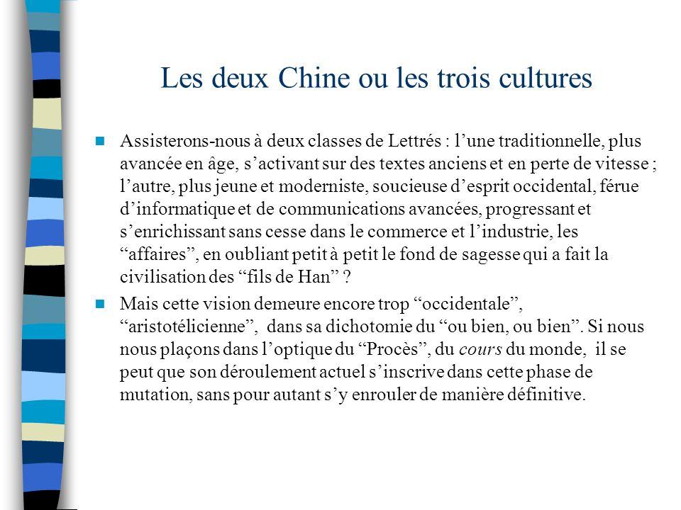 Les deux Chine ou les trois cultures Assisterons-nous à deux classes de Lettrés : lune traditionnelle, plus avancée en âge, sactivant sur des textes a