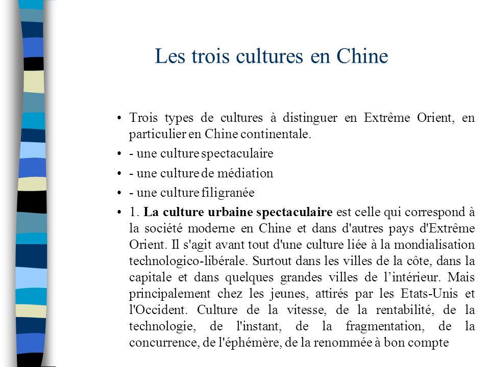 Les trois cultures en Chine Trois types de cultures à distinguer en Extrême Orient, en particulier en Chine continentale. - une culture spectaculaire