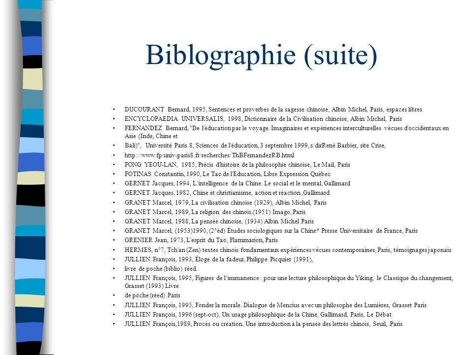 Biblographie (suite) DUCOURANT Bernard, 1995, Sentences et proverbes de la sagesse chinoise, Albin Michel, Paris, espaces libres ENCYCLOPAEDIA UNIVERS
