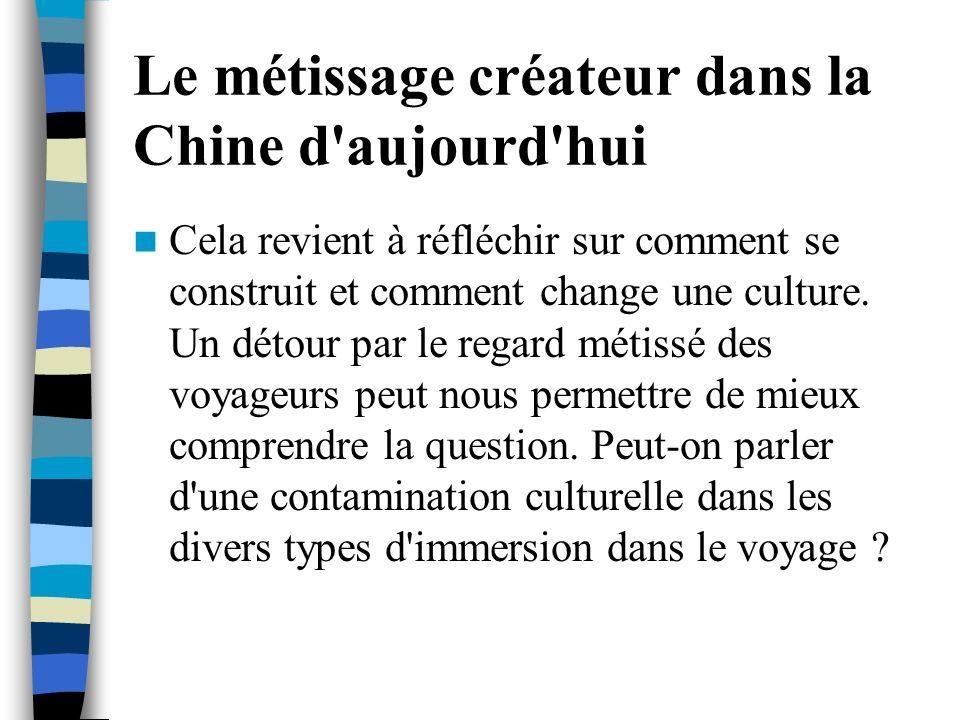 Le métissage créateur dans la Chine d'aujourd'hui Cela revient à réfléchir sur comment se construit et comment change une culture. Un détour par le re