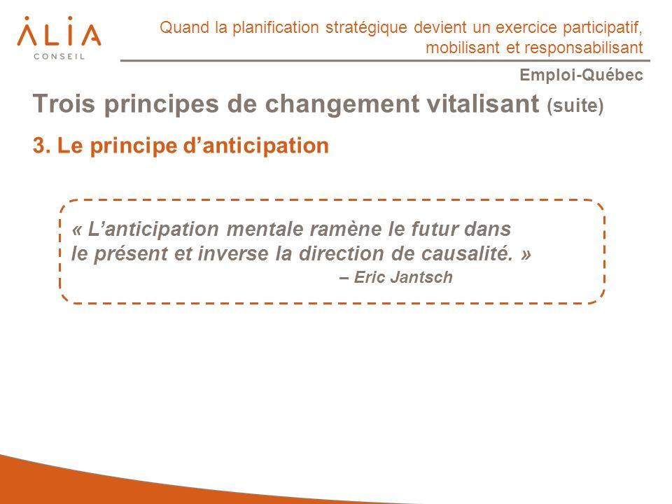 Quand la planification stratégique devient un exercice participatif, mobilisant et responsabilisant Emploi-Québec « Lanticipation mentale ramène le futur dans le présent et inverse la direction de causalité.