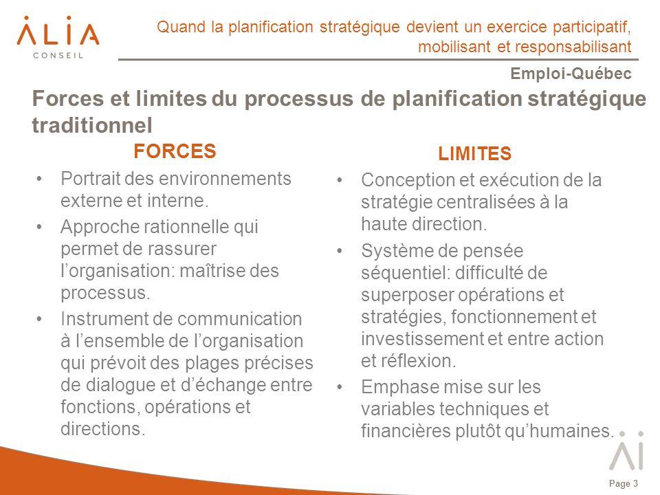 Quand la planification stratégique devient un exercice participatif, mobilisant et responsabilisant Emploi-Québec Page 3 Forces et limites du processus de planification stratégique traditionnel FORCES Portrait des environnements externe et interne.