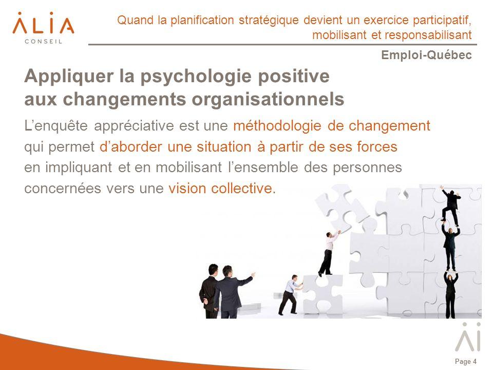 Quand la planification stratégique devient un exercice participatif, mobilisant et responsabilisant Emploi-Québec Le pouvoir de lanticipation positive et leffet placebo Leffet placebo peut expliquer entre 30 % et 70 % des effets dun traitement thérapeutique.