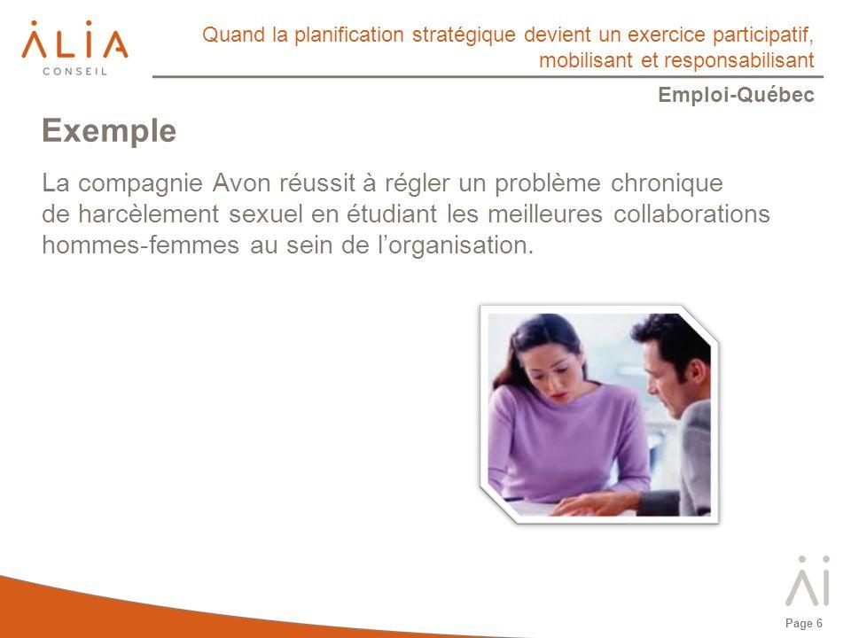 Quand la planification stratégique devient un exercice participatif, mobilisant et responsabilisant Emploi-Québec Page 6 La compagnie Avon réussit à régler un problème chronique de harcèlement sexuel en étudiant les meilleures collaborations hommes-femmes au sein de lorganisation.