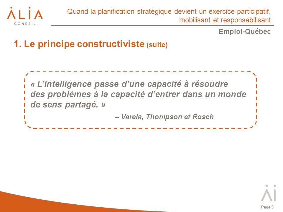 Quand la planification stratégique devient un exercice participatif, mobilisant et responsabilisant Emploi-Québec Page 9 « Lintelligence passe dune capacité à résoudre des problèmes à la capacité dentrer dans un monde de sens partagé.