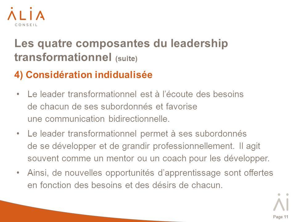Page 11 Les quatre composantes du leadership transformationnel (suite) 4) Considération indidualisée Le leader transformationnel est à lécoute des bes
