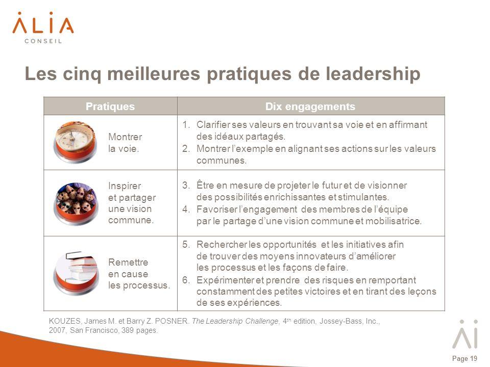Page 19 PratiquesDix engagements Montrer la voie. 1.Clarifier ses valeurs en trouvant sa voie et en affirmant des idéaux partagés. 2.Montrer lexemple