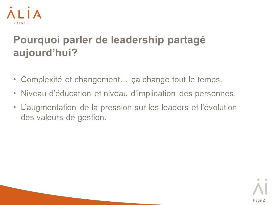 Page 2 Pourquoi parler de leadership partagé aujourdhui? Complexité et changement… ça change tout le temps. Niveau déducation et niveau dimplication d