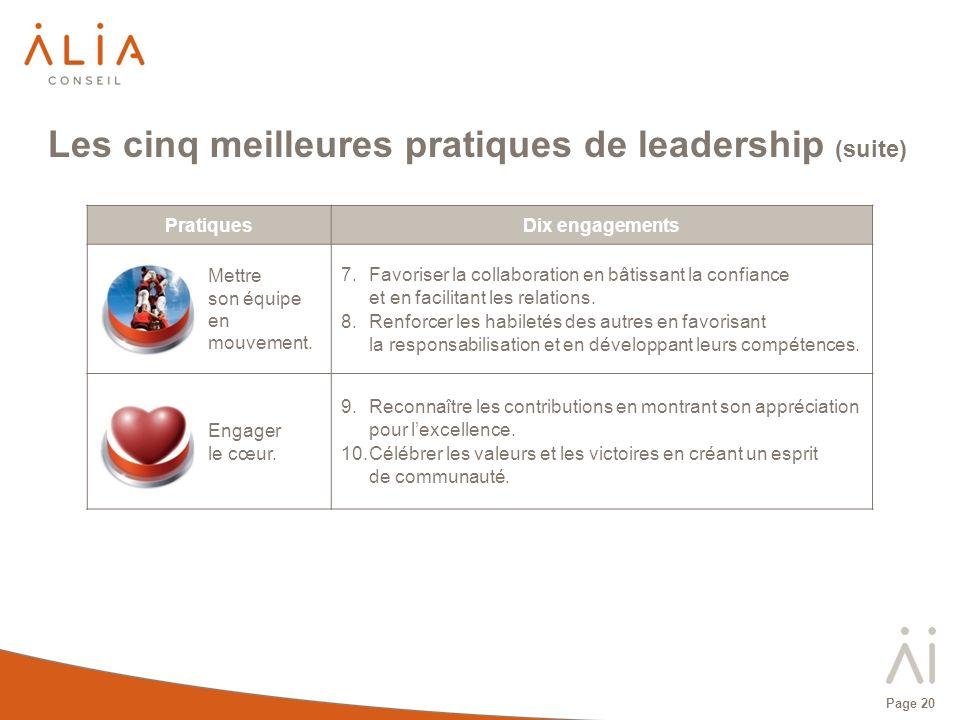Page 20 PratiquesDix engagements Mettre son équipe en mouvement. 7.Favoriser la collaboration en bâtissant la confiance et en facilitant les relations
