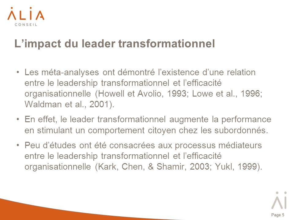Page 5 Les méta-analyses ont démontré lexistence dune relation entre le leadership transformationnel et lefficacité organisationnelle (Howell et Avoli