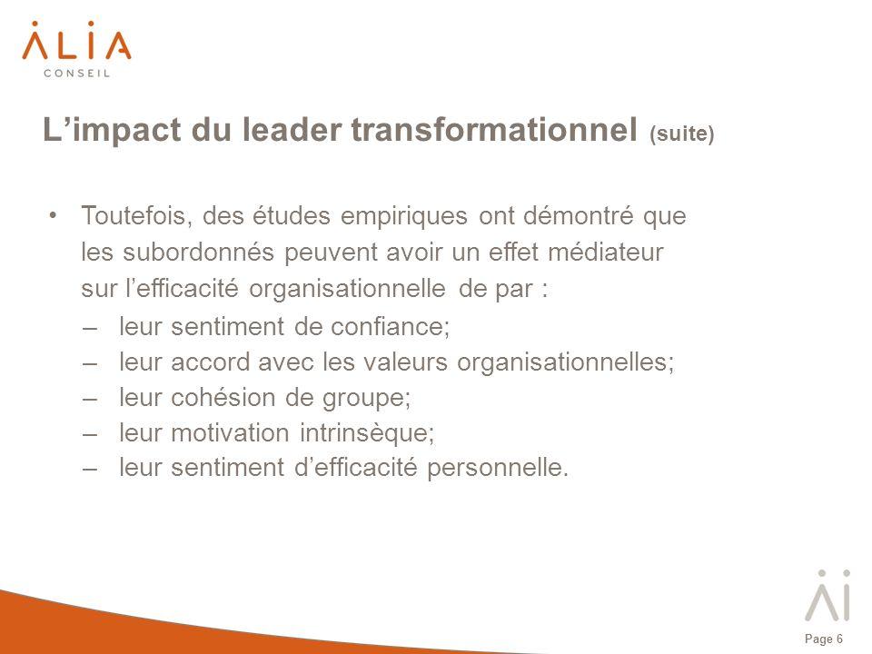 Page 7 Le leadership transformationnel Le leadership transformationnel renvoie à la capacité du dirigeant à amener ses subordonnés à transcender leurs intérêts personnels et à transformer leurs croyances, leurs besoins et leurs valeurs au nom dune vision collective.