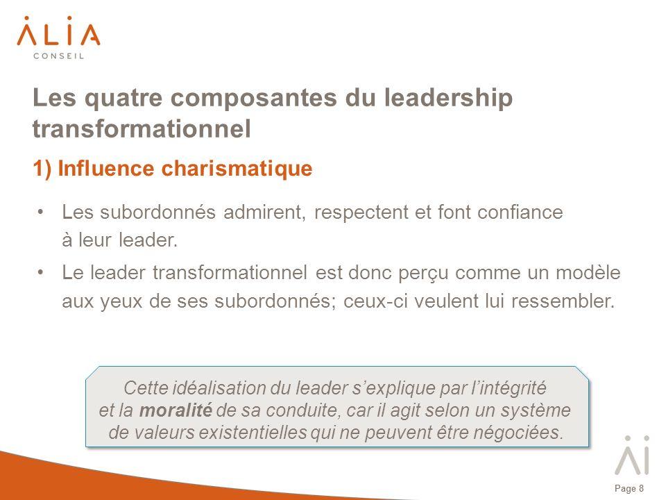 Page 8 Les quatre composantes du leadership transformationnel 1) Influence charismatique Les subordonnés admirent, respectent et font confiance à leur
