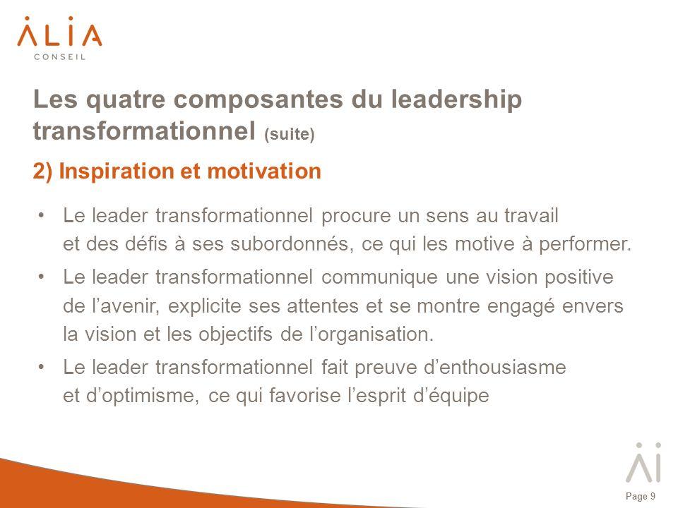 Page 10 Les quatre composantes du leadership transformationnel (suite) 3) Stimulation intellectuelle Le leader transformationnel incite ses subordonnés à être créatifs et à innover en questionnant les hypothèses, en recadrant les problèmes et en envisageant les situations passées sous un angle nouveau.