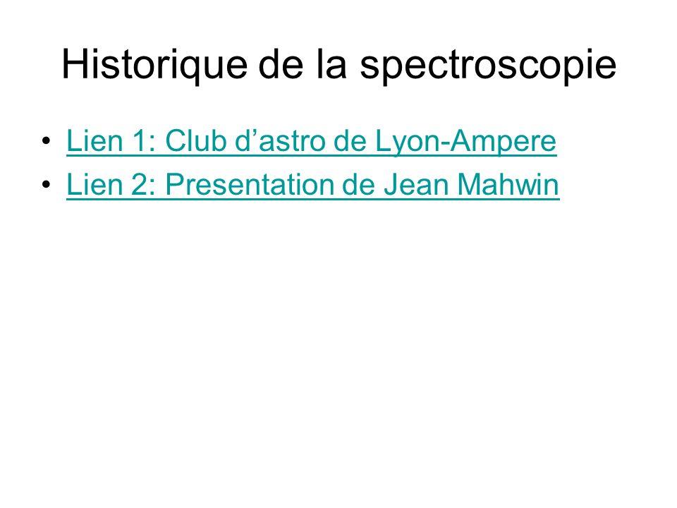 Historique de la spectroscopie Lien 1: Club dastro de Lyon-Ampere Lien 2: Presentation de Jean Mahwin