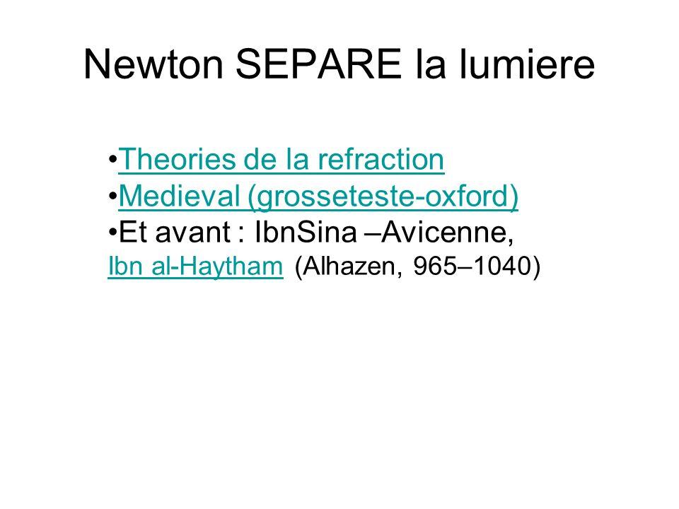 Newton SEPARE la lumiere Theories de la refraction Medieval (grosseteste-oxford) Et avant : IbnSina –Avicenne, Ibn al-HaythamIbn al-Haytham (Alhazen, 965–1040)