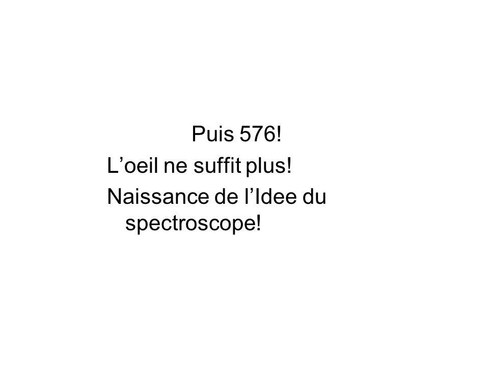 Puis 576! Loeil ne suffit plus! Naissance de lIdee du spectroscope!