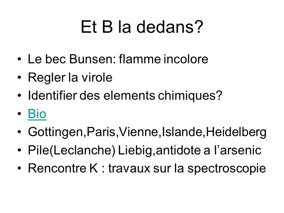 Et B la dedans.Le bec Bunsen: flamme incolore Regler la virole Identifier des elements chimiques.