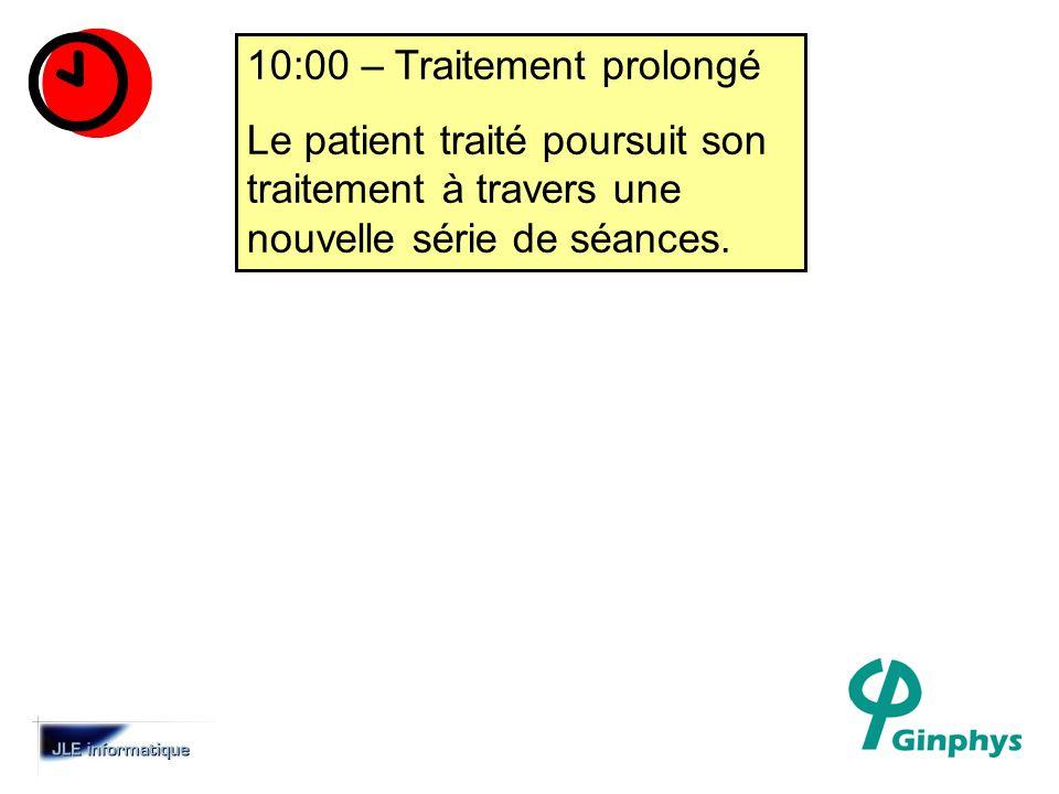 10:00 – Traitement prolongé Le patient traité poursuit son traitement à travers une nouvelle série de séances.