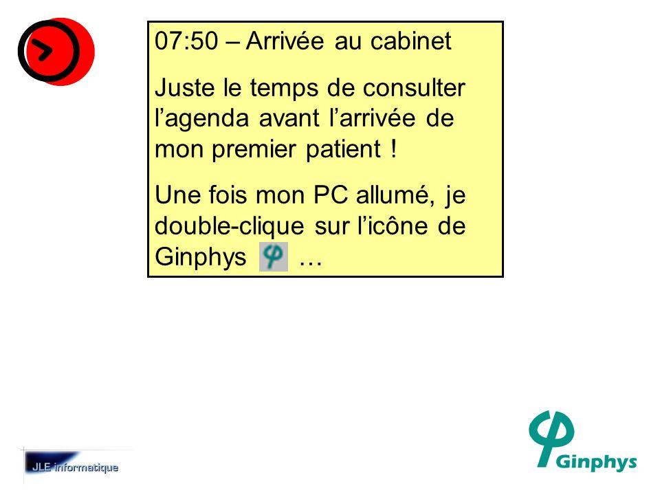07:50 – Arrivée au cabinet Juste le temps de consulter lagenda avant larrivée de mon premier patient .