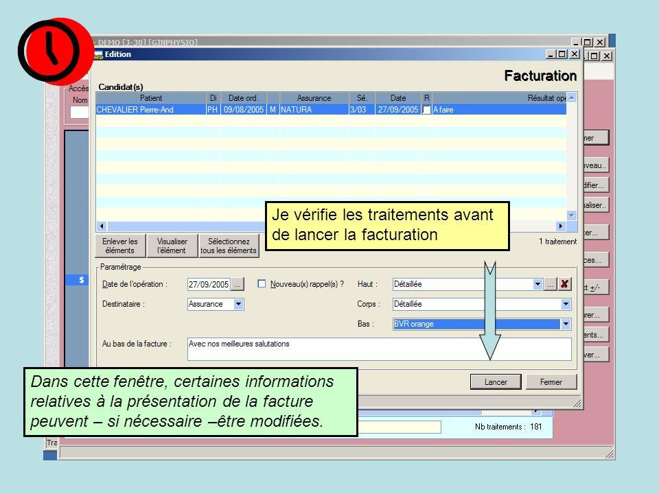 Dans cette fenêtre, certaines informations relatives à la présentation de la facture peuvent – si nécessaire –être modifiées.