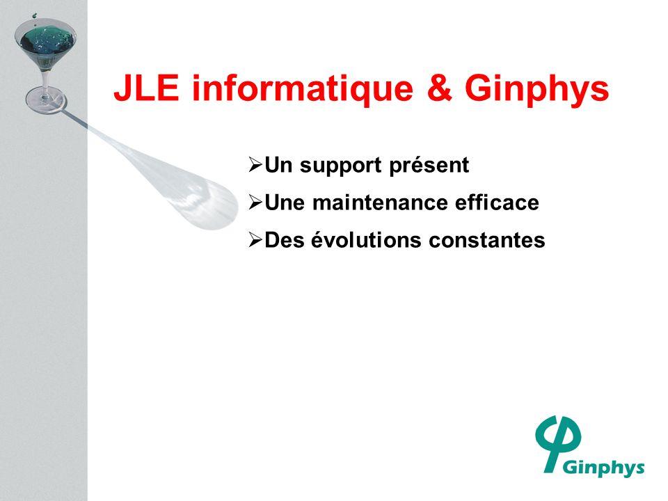 JLE informatique & Ginphys Un support présent Une maintenance efficace Des évolutions constantes