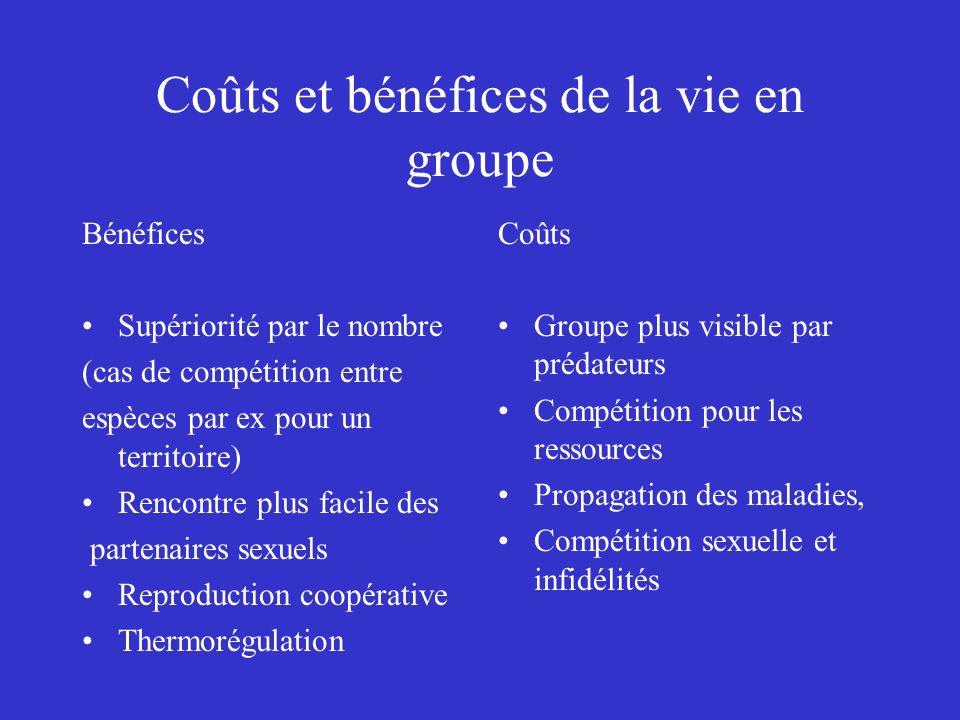 Coûts et bénéfices de la vie en groupe Bénéfices Supériorité par le nombre (cas de compétition entre espèces par ex pour un territoire) Rencontre plus