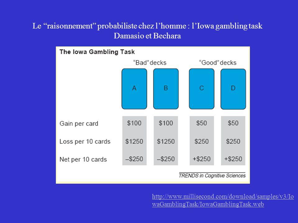 Le raisonnement probabiliste chez lhomme : lIowa gambling task Damasio et Bechara http://www.millisecond.com/download/samples/v3/Io waGamblingTask/Iow