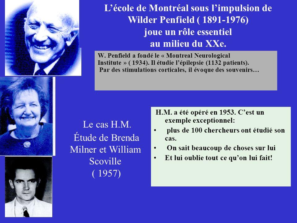 Le cas H.M. Étude de Brenda Milner et William Scoville ( 1957) W. Penfield a fondé le « Montreal Neurological Institute » ( 1934). Il étudie lépilepsi