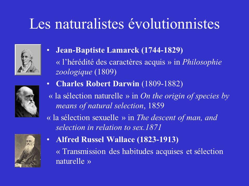Les naturalistes évolutionnistes Jean-Baptiste Lamarck (1744-1829) « lhérédité des caractères acquis » in Philosophie zoologique (1809) Charles Robert